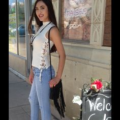 ❌BIG SALE -White Crew Top Totally cute and comfortable top! Features side tie and gold accents. 95% Rayon, 5% Spandex (This closet does not trade or use Paypal) Top Chic Tops Tank Tops