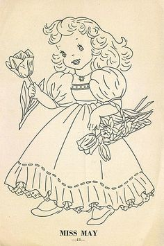 Hand Embroidery Pattern 12 Children of the Month for Quilt from 1960 Workbasket 5 Iron On Embroidery, Embroidery Transfers, Hand Embroidery Stitches, Vintage Embroidery, Cross Stitch Embroidery, Cross Stitch Patterns, Machine Embroidery, Embroidery Designs, Girls Quilts