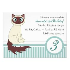 Cute Kitty Cat Birthday Party Invitation - Blue
