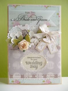 Beautiful wedding card with seam binding, vellum and doilies.