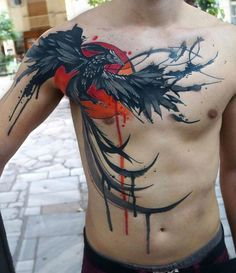 #tattoo on chest - #phoenix