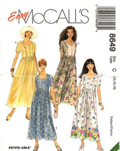 Dress PATTERN for Misses size 10 12 14 Loose fitting gathered waist button front bodice round neckline short sleeves McCall's 8649 by BlondiesSpot2 on Etsy
