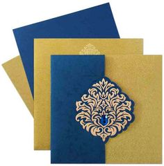 Visit www.regalcards.com for this mesmerizing elegant invitation card with embossed Damask motif and sparkling rhinestone.