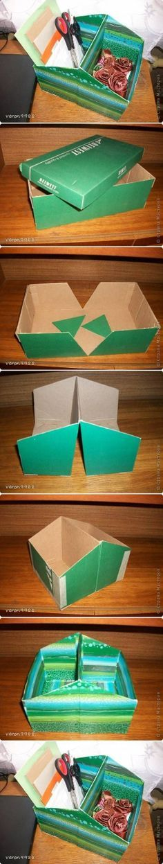 DIY Shoe Box Organizer. This is actually really smart. Store different boxes in the closet and pull out the one(s) you need.