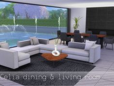 This is a contemporary masterpiece. The modern furnishings make for an inviting open dining and living area. Found in TSR Category 'Sims 4 Dining Room Sets' Living Room Sims 4, Sims 4 Cc Furniture Living Rooms, Living Room Modern, Living Room Designs, Living Area, The Sims, Sims Cc, Dining Room Sets, Living Room Objects