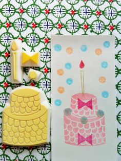 cake rubber stamp. hand carved rubber stamp. handmade rubber stamp. wedding. birthday. candle. ribbon. dot. set of 4. no3.. $22.00, via Etsy.