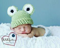 FREE Crochet Pattern, www.RAKJpatterns.com, Baby Frog Beanie, crochet pattern