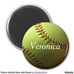 Yellow Softball Mini with Name Magnet $4.45 Yellow Softball Mini with Name Magnet Yellow fastpitch softball, realistic photography with natural shadows. Our fastpitch softball design is available on several different products, from coach lines to player lines. See our entire line of sports related gift items and products in our store! Add your name to personalize, great to use on magnetic boards for positioning and drills!