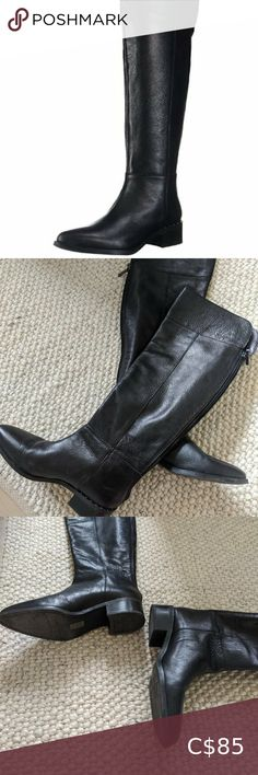 Franco Sarto Daya Boots Size 8, excellent condition barely worn. Flat heel- knee high black leather boots Franco Sarto Shoes Black Leather Ankle Boots, Leather Riding Boots, Suede Ankle Boots, Leather Booties, Black Booties, Ankle Booties, Brown Knee High Boots, Black Wedge Shoes, Black Suede Pumps