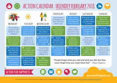 "Get the ""Friendly February"" calendar from Action for Happiness now! February Calendar, New Year Calendar, Household Budget Template, Action For Happiness, Calendar Activities, Acceptance Letter, Shocking Facts, Meaningful Life, Coping Skills"
