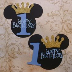 DIY Mickey Mouse Blue Happy Birthday 1 Prince Gold Glitter Crown Centerpiece Baby Boy DIY Make Your Own Birthday Party Centerpiece