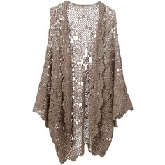 MES DEMOISELLES 'Jeanlud' lace cardigan featuring polyvore, fashion, clothing, tops, cardigans, jackets, outerwear, long brown cardigan, lace top, embroidered lace top, long tops and brown tops