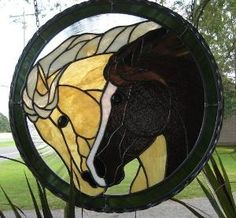 Wild Horses Stained Glass Panel  08-050. $325.00, via Etsy. by zelma
