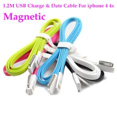 1.2M TPE Magnetic 30 Pin USB Data Sync Charging Charger Cable Cord For iPhone 4 4S 3G For iPad 2 3 For iPod Nano