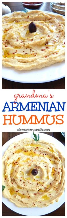 Grandma's Armenian Hummus - a creamy, classic hummus recipe brought from Armenia and passed down through the generations. Use onlyextra virgin olive oil not veg oil for a healthier recipe. Vegetarian Recipes, Cooking Recipes, Healthy Recipes, Comida Armenia, Classic Hummus Recipe, Armenian Recipes, Armenian Food, Filling Food, Mediterranean Recipes