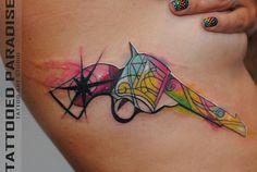 Watercolor tattoo revolver