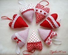 corazones de tela: