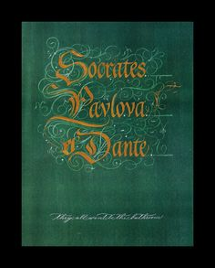 """SOCRATES AND PAVLOVA - Batarde style with flourishes and script """"commode commentary"""""""