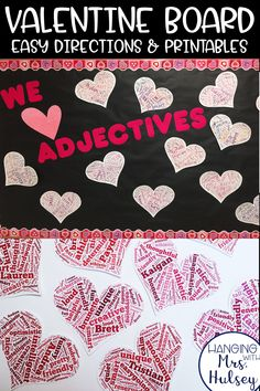 A fun, free bulletin board idea to help you practice kind adjectives, kindness, and typing skills in the classroom! Perfect for Valentine's Day or any other time of the year! Post also includes free directions and printables so you can DIY. List Of Positive Adjectives, Good Adjectives, Character Trait, Character Education, Tagxedo, Valentines Day Bulletin Board, Typing Skills, Positive Traits, Parts Of Speech