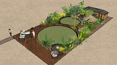 Pair of differently sized round lawns adds sense of perspective in a Tropical Jungle Garden by the Essex Garden Designer.