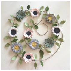 NEUTRAL FLOWER GARLAND // Felt Flower Garland // by HoneyCrown