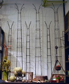 Sculptural Steel Plant Climbers contemporary garden sculptures