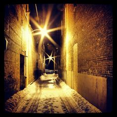 my ghost in a snow covered alleyway