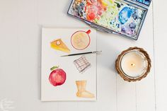 Pretty fall watercolors | Finding Silver Pennies #watercolor #art #stationery #artprints #framedart #newenglandartist #scituateartist #fallwatercolor #fallinspiration