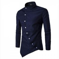 Men's Casual Daily Simple Chinoiserie Spring Fall Shirt Solid Stand Long Sleeves Cotton