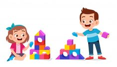 Happy Cute Kids Play Brick Block Together Kids Cartoon Characters, Cartoon Kids, Game Background, Background Patterns, Art Drawings For Kids, Art For Kids, Kids Graphics, Go Math, Kids Blocks