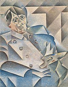Ritratto di Pablo Picasso, di Juan Gris (1887–1927).  Ritratto di uno dei più conosciuti esponenti della corrente Cubista, sullo stile di questa tecnica artistica.