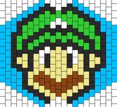 Luigi Mask Bead Pattern Kandi Mask Patterns, Melty Bead Patterns, Beading Patterns Free, Peyote Patterns, Seed Bead Projects, Beaded Banners, Jean Crafts, Peyote Beading, Beaded Animals