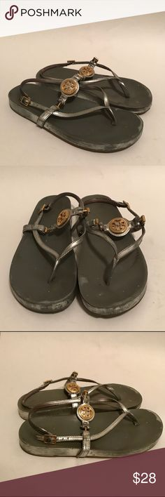 Tory Burch Silver Gold Sandals Flip Flops 8.5 Tory Burch Silver Gold Sandals Flip Flops 8.5  Silver is wearing off on shoe as shown. Price is firm and reflects condition. Tory Burch Shoes Sandals