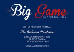 The Big Game Superbowl Invitation  www.perfectcards.etsy.com