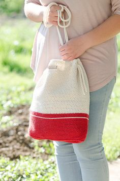 Crochet bag #MyLovelyBag Barcelona red and cream with rope handles by MyLovelyHook