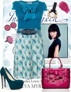 """""""Teal and Pink"""" by fashionmefabulous ❤ liked on Polyvore"""