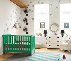 Modern eclectic nursery with kelly green crib The Latest In Modern Nursery Design. Love the green crib Nursery Furniture, Nursery Room, Girl Nursery, Kids Bedroom, Nursery Decor, Nursery Ideas, Room Ideas, Rustic Furniture, Aqua Nursery