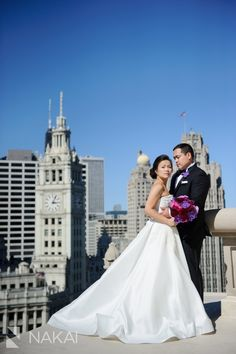 One of Chicago's Best Luxury Hotel Wedding Venues: LondonHouse Chicago! Amazing London House Rooftop Photos by Chicago Wedding Photographer: Nakai Photography - Anne Barge gown - Revel Decor bouquet -http://www.nakaiphotography.com