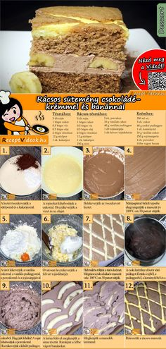 The Fake lattice cake with chocolate cream and bananas is an amazing dessert you will want to eat seconds of! You can easily find the recipe by scanning the QR code in the top right corner! Banana Recipes Videos, Fun Desserts, Dessert Recipes, German Bakery, Jaffa Cake, Hungarian Recipes, Banana Cream, Bakery Recipes, Chocolate Cream