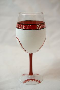 Baseball Mom hand painted Wine glass.