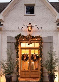 'Tis the season! Porch light, brick, window, doors and shutters