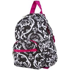 Black and White Damask Floral Print Mini Backpack ($10.63)