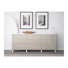 BESTÅ Storage combination with doors - white/Selsviken high-gloss/beige - IKEA