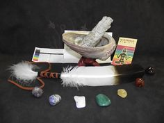 SAGE SMUDGE KIT CHAKRA WITH ABALONE SHELL STAND FEATHER AND 7 CHAKRA CRYSTALS in Collectibles, Religion & Spirituality, Wicca & Paganism | eBay