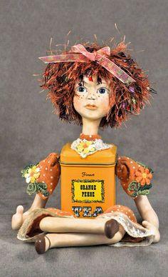 OOAK art doll shelf doll pumpkin and polka by Honeysuckledolls, $50.00