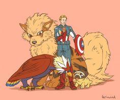 Os Vingadores e seus Pokémons