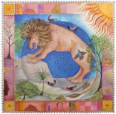 Leo by Jane Ray, July 24 - August 23 Leo Sun Sign, Tarot, Hamsa Art, Zodiac Elements, 24. August, July 24, Zodiac Art, Zodiac Signs, Willow Pattern
