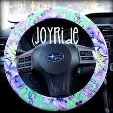 Add some personality to your car or truck. Every roadtrip will be better with this great accessory. LOVE the designer look of a fabulous steering wheel cover. All of my steering wheel covers fit a standard 14-15 inch steering wheel, and made to fit tight. Keyfob is 10 inches around or