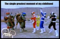 The Teenage Mutant Ninja Turtles meets The Power Rangers! They all look so excited to meet to each other!
