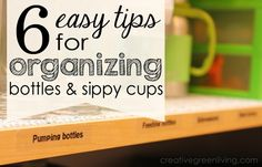 Keep your baby bottles and sippy cups under control with these great organizing ideas and some supplies from the dollar store.